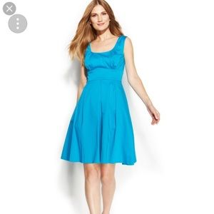Calvin Klein Pleated Fit & Flare Teal Dress 👗
